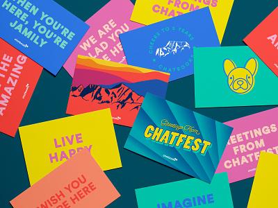 Chatfest Postcards vector typography postcard design postcard illustrator illustration flat design color art