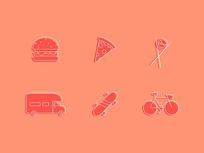 Food + Travel Icons icons dribbble iconography icon set icon design icon logo branding vector illustrator illustration flat design color art