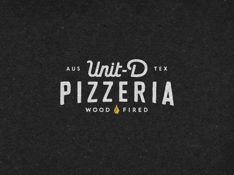 Unit D Pizzeria lettering design logo