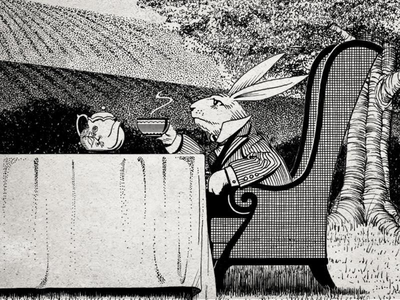 Tea Time ink pen illustration