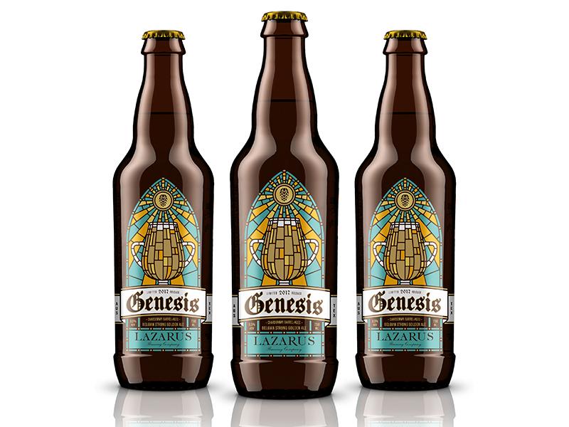 Genesis Bottle beer packaging design illustration