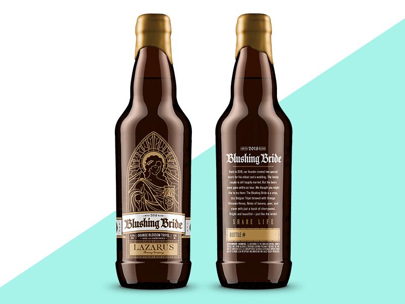 Blushing Bride beer packaging design illustration