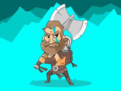 Viking Warrior survival tribal axe cartoon illustration character warrior viking