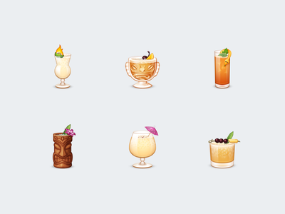 Tiki Cocktails Emoji cocktail parasol flower fire cherry mint glass mug tropical emoji drinks tiki