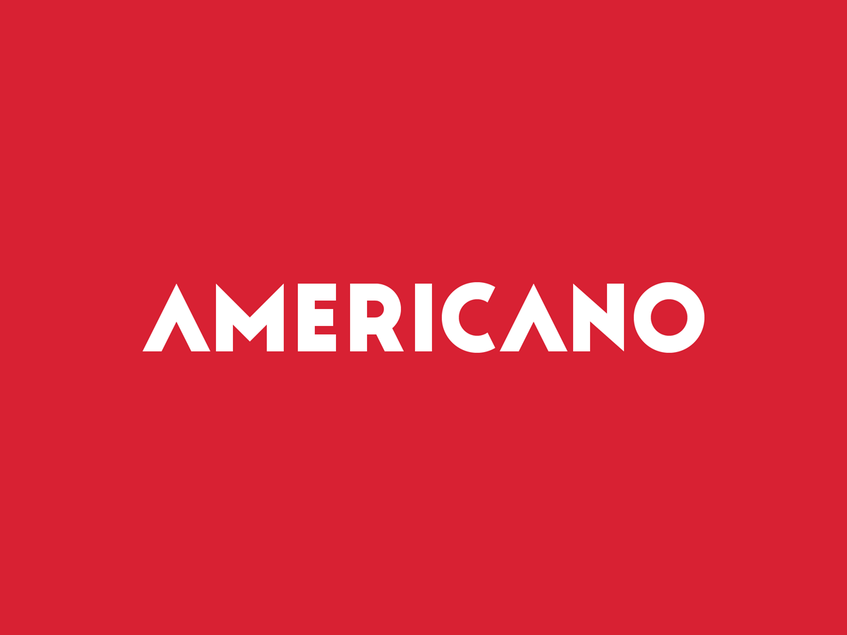 Americano   white on crimson
