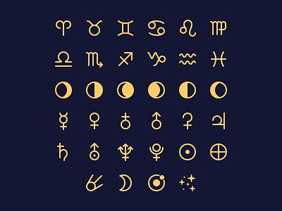 Primaries 1.14: Astronomy & Astrology zodiac astrology astronomy parakeet primaries stock icons icon set vector ios