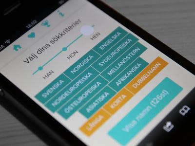 Skandia Namngeneratorn responsive skandia user interface web ui iphone slider filters mobile
