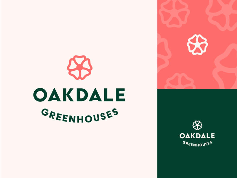 Oakdale Greenhouse vector branding logo design plants greenhouse flower logo