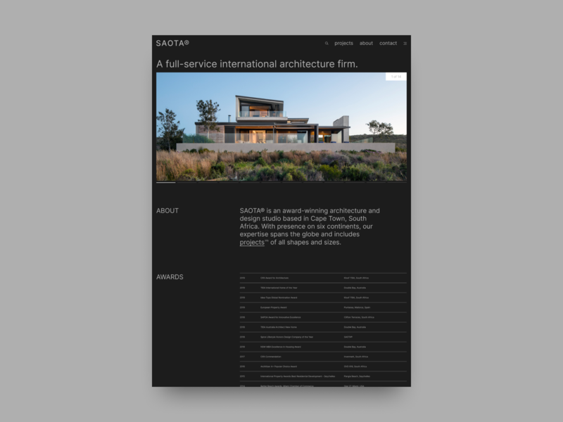 SAOTA concept website design modern concept dark architecture brutalist minimal branding web
