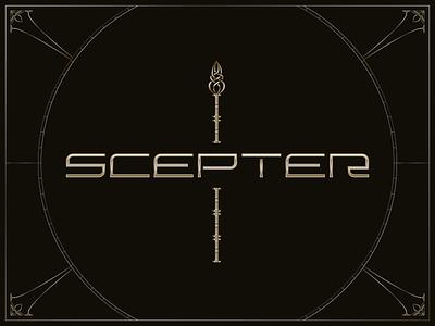 S C E P T E R metallic gradient illustrator logotype luxury elegant golden gold ornate vector logo typography