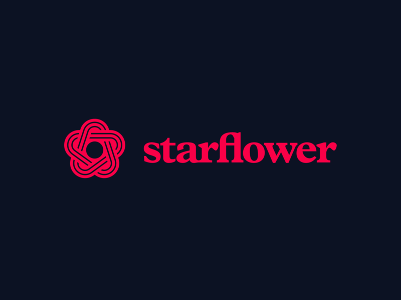 starflower flat app logo typography icon design branding