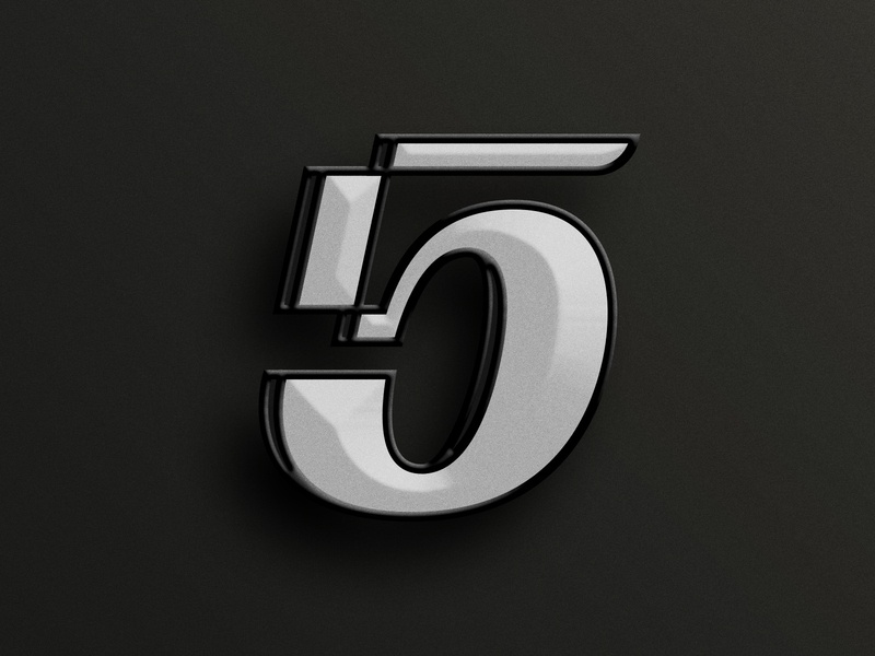 Five (5) illustration pin icon number 5 custom type hand lettered handlettering typography type beveled five 5 letters lettering