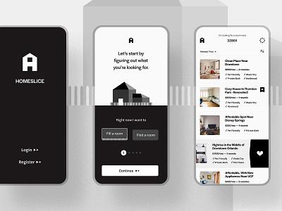 Homeslice home roommate mobile monochrome black  white minimal figma ui design branding real estate mobile app app