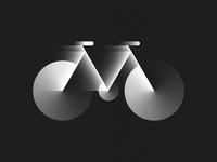 M is For Motion - Dark Mode dark mode black and white bicycle bike grain gradient design illustration