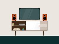 Catnap modern design vector furniture mid century illustration