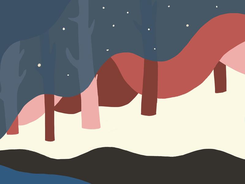 Journey_Getting dark stars pink dark night procreate vector graphic design design drawing illustration