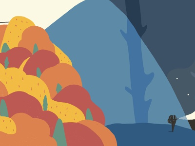 Journey_Looking for a place to stay dark night montain travelling vector character design drawing illustration