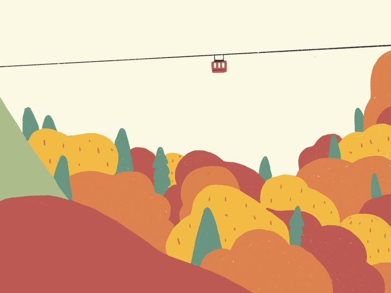 Journey_Taking a cable car ipadpro travelling mountain vector procreate cablecar character animation drawing design illustration