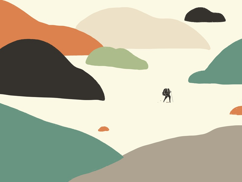 Journey_Crossing the mountains ipadpro procreateapp travelling procreate poster vector character graphicdesign graphic design design drawing illustration