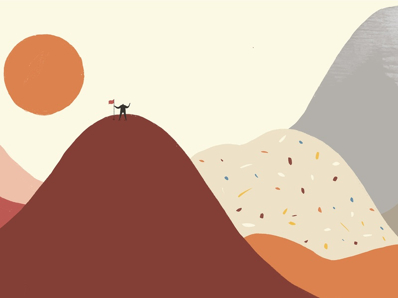 Journey_Arrived the top of the mountain art poster ipadpro procreate travelling vector graphic design animation drawing design illustration