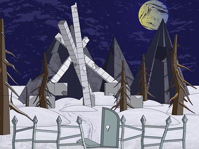 Obelisk. Fantasy illustration #1 night vector illustration art forest fantasy obelisk