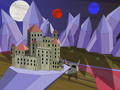 Castle. Fantasy illustration #4 vector illustration art fantasyart fantasy crystals castle