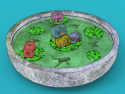 Frog House architecture illustration design 3d art 3d water lily pond house frog