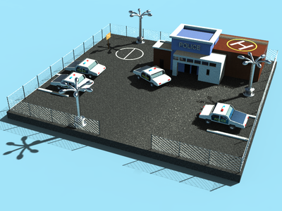 Police Station illustration art architecture 3d art 3d cars station police