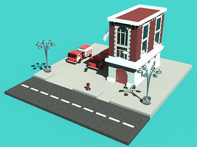 Fire Station art architecture enviroment car building 3d art 3d fire station