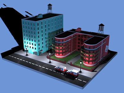 Hospital night batman city building environment street cars 3d art 3d architecture hospital