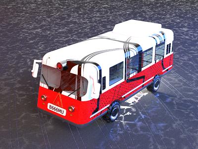 Retro Bus vehicle transport traffic 3d art 3d car bus retro
