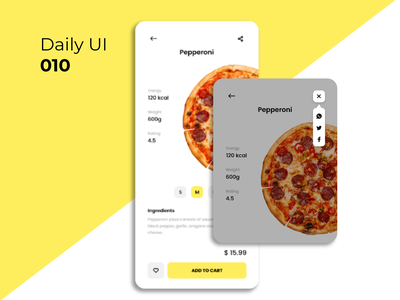 #DailyUI #010 - Social share ui  ux mobile app food app pizza social share button share dailyui challenge dailyuichallenge 010 ux ui design app daily ui daily 100 challenge