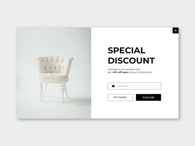 #DailyUI #016 - Pop-up/Overlay discount subscribe minimalist shop overlay popup website dailyui ux design daily ui dailyuichallenge daily 100 challenge ui