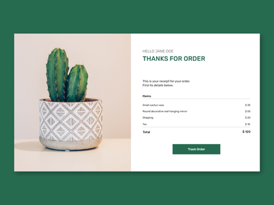 #DailyUI #017 - Email Receipt shop e-commerce ecommerce ui order payment minimal web receipt email 017 email receipt dailyui ux design daily ui