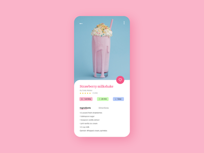 #DailyUI #040 - Recipe pastel colors pastels dessert food milkshake recipes app recipe 040 mobile mobile ui adobe xd app dailyui ux dailyuichallenge design daily ui ui