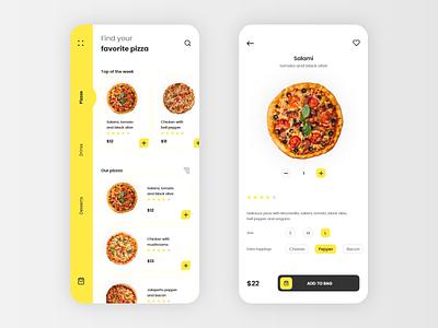 #DailyUI #043 - Food/Drink Menu yellow interface ux design drink 043 pizza delivery menu design menu pizza food app app mobile ui mobile adobe xd dailyui ux dailyuichallenge design daily ui ui