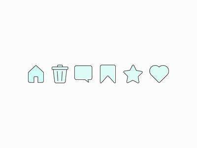 #DailyUI #055 - Icon Set 055 heart favorite bookmark message trash home icon set icon vector illustration app mobile illustrator design ui ux daily ui