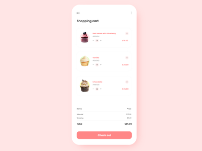 #DailyUI #058 - Shopping cart pink ui pink cupcake design adobe xd dailyui daily ui ux ui desserts sweet basket shopping basket shopping cart shopping app shopping cart 058