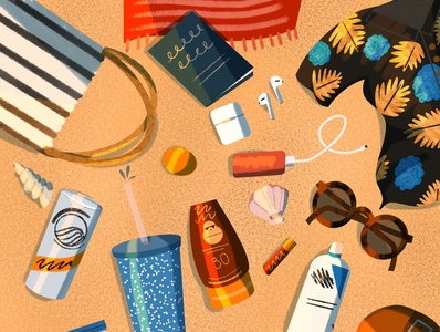Beach Bag Contents graphic illustration graphicdesign graphic summer instagram illustration drawing challenge drawing beach bag beach