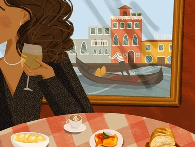 Eating in Italy editorial illustration food italy vacation drawing challenge instagram post childrens book illustration illustration