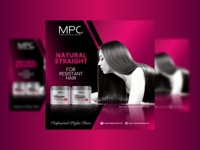 Natural Straight for Resistant Hair product flyer packaging vector art digital design