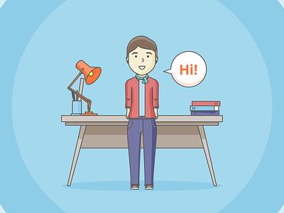 Explainer Frame angle poise illustrator avatar explainer