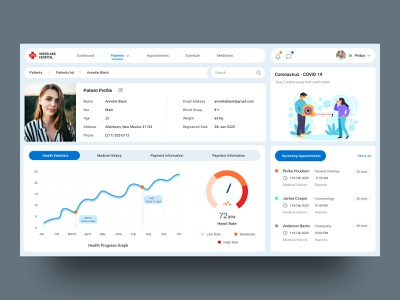 Doctor Dashboard statistics stats graphs data illustration checkup appointments treatment medical ux ui hospitals patient dashboard doctor