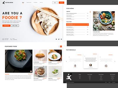 Restaurant Website online order ux ui testimonials footer featured section food menu foodie website restaurant