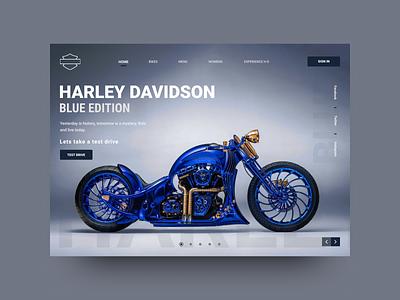 Harley Davidson Hero Section layout motorbike editions bikes uiux landing page ui designs website landingpage hero section