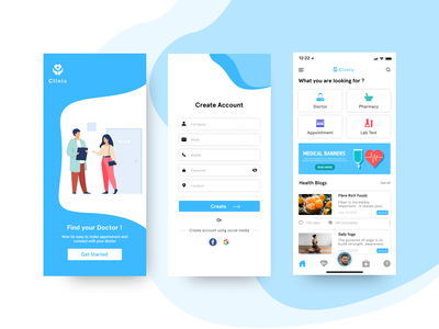 Clinic Application blogs user pateint mobile user experience userinterface doctor application clinic