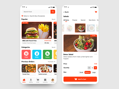 Food Delivery Mobile Application ordering restaurant phone ux ui application mobile delivery food