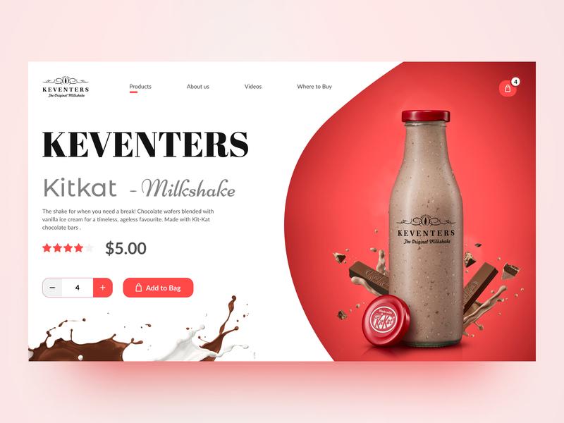 Keventers - Kitkat MilkShake | Landing Page chocolate shake website webdesign hero section landingpage uiux ui milkshake kitkat keventers