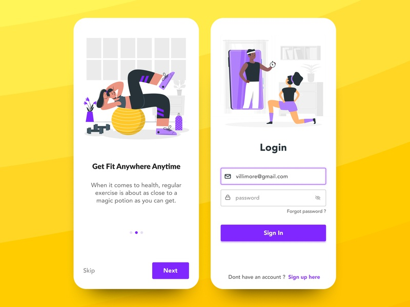 Fitness App - UI exercise online illustration phone design mobile uiux ui app fitness