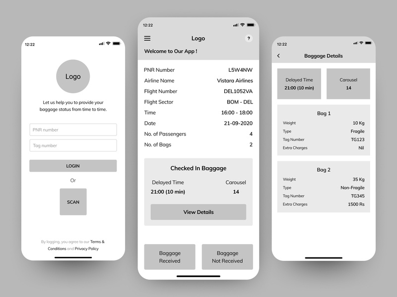 Checked-In Baggage App - Wireframe flights phone login wireframe ui  ux checked-in baggage airport mobile design mobile
